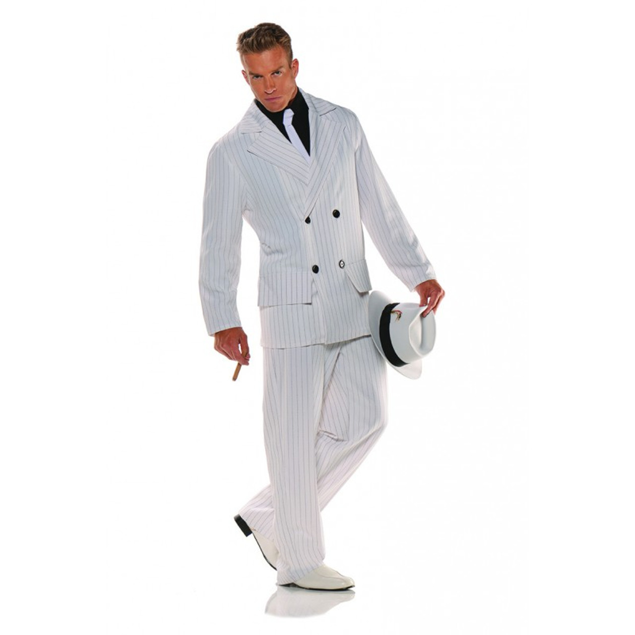 """FANCY DRESS WHITE PIN STRIPE FITS TO A 48/"""" CHEST GANGSTERS OUTFIT BLACK"""