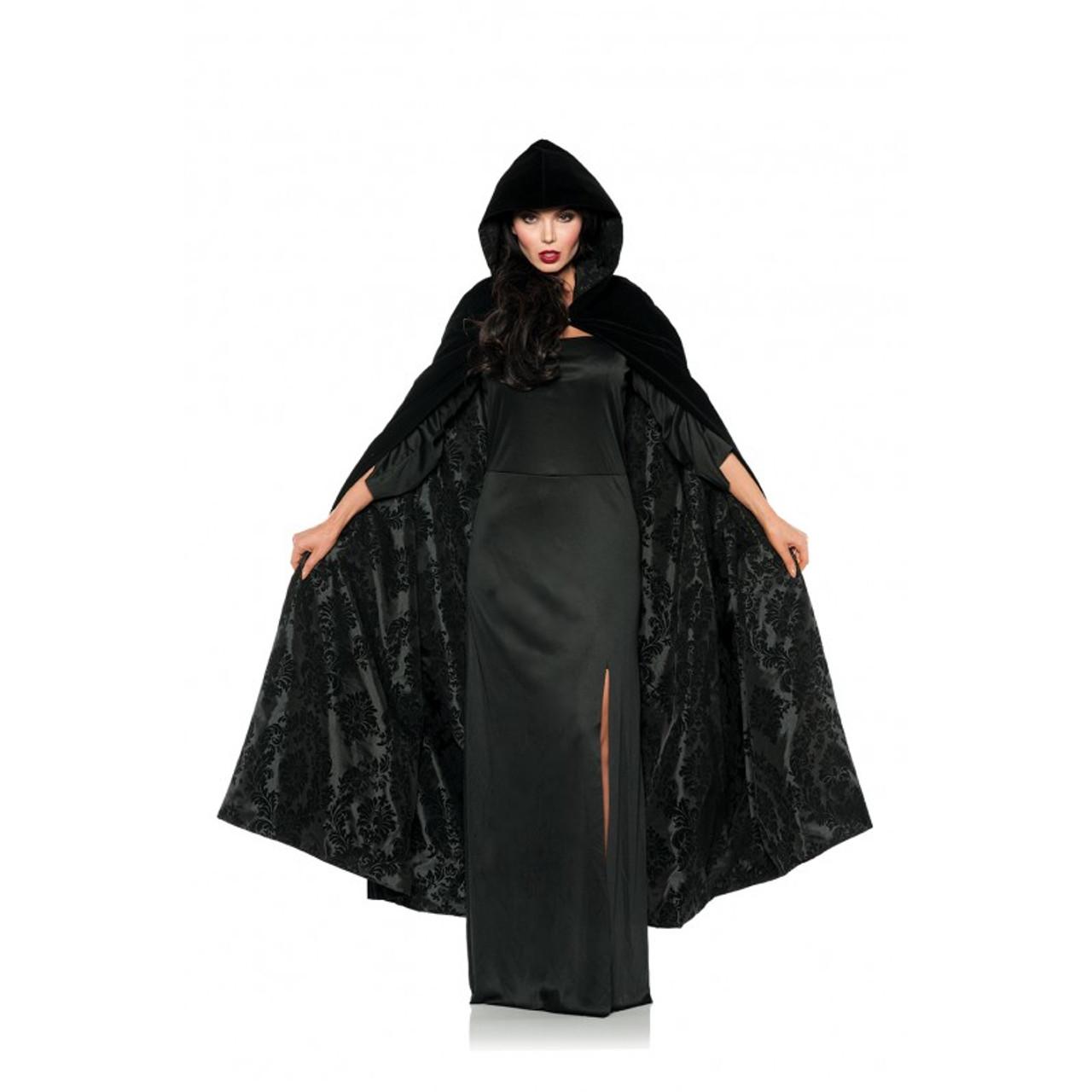 Halloween Cosplay Costume Velvet Hooded Cape Medieval Renaissance Cloak One Size