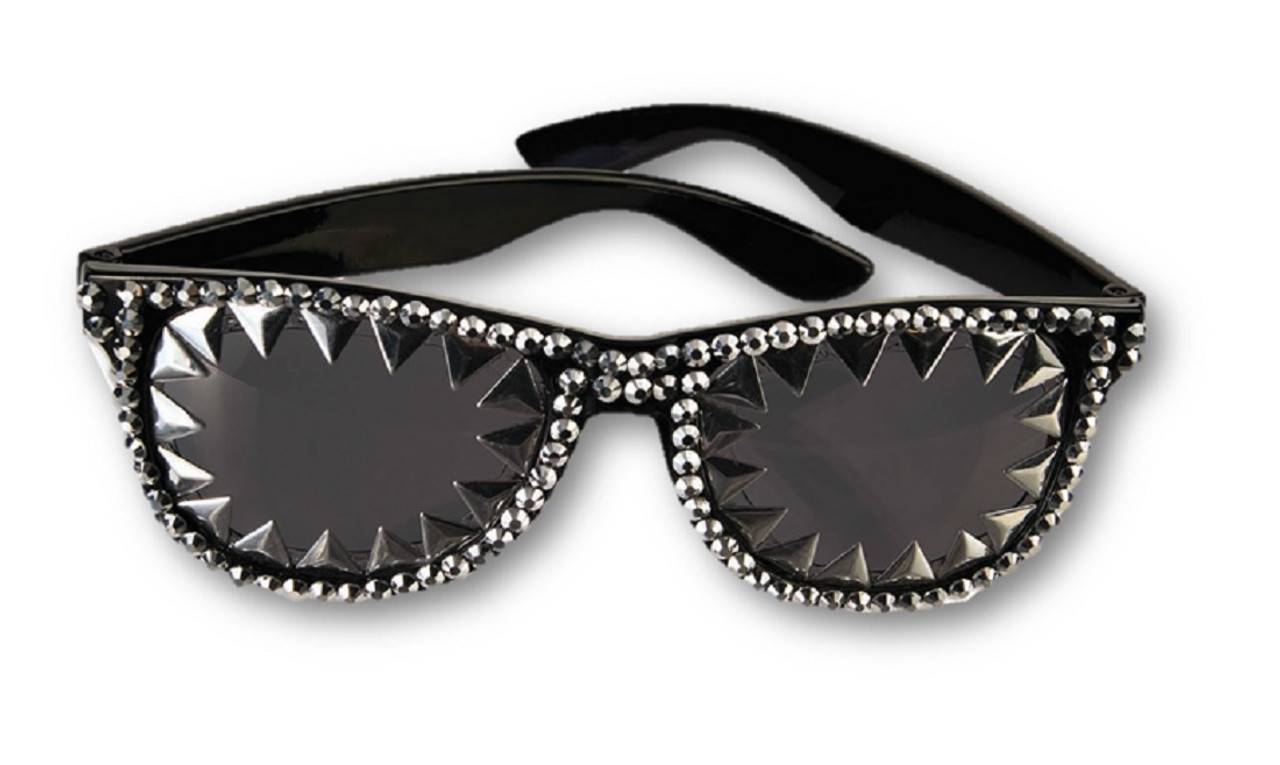 Fun Unisex Punk Rocker Spiked Glasses Gold or Silver Halloween Costume Accessory