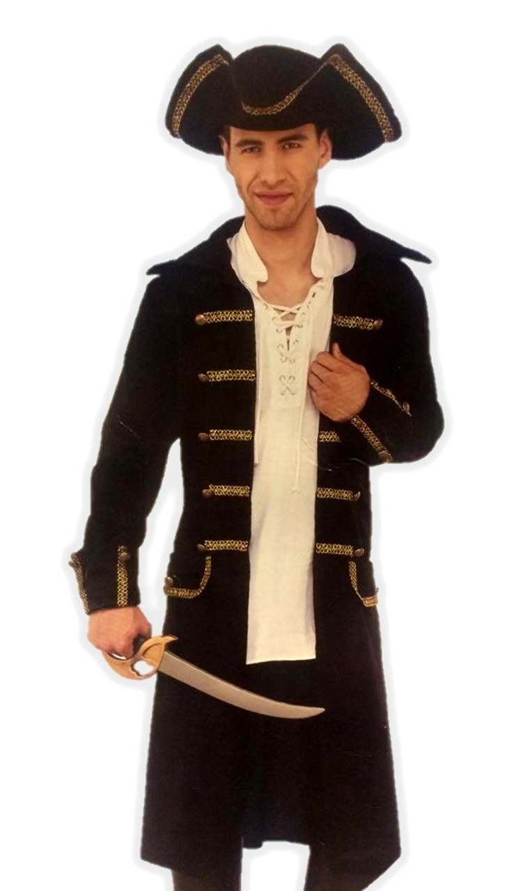 Pirate Coat Set Black Faux Leather Print Adult Mens Jacket Tricorn Hat Std-XXL