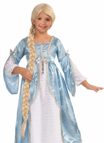 Princess Of The Tower Blonde Wig Costume Accessory Long Braid Girls Child Bangs