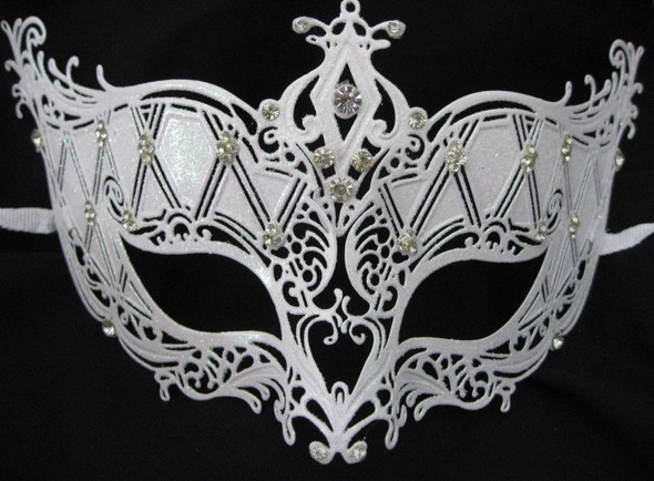 Snow White Laser Cut Metal Venetian Mask Bridal with Rhinestone Ice Queen Prom