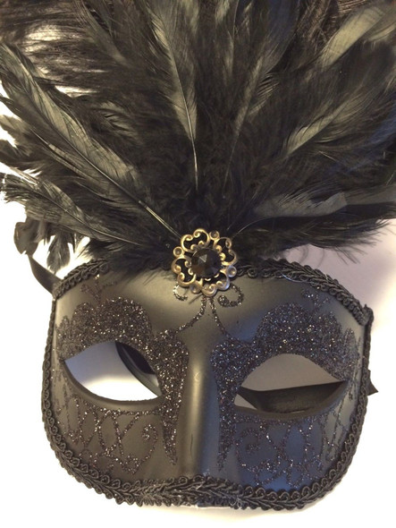 "15"" Black Feather Mask Halloween Costume Accessory Prop Gem Women's Ladies New"