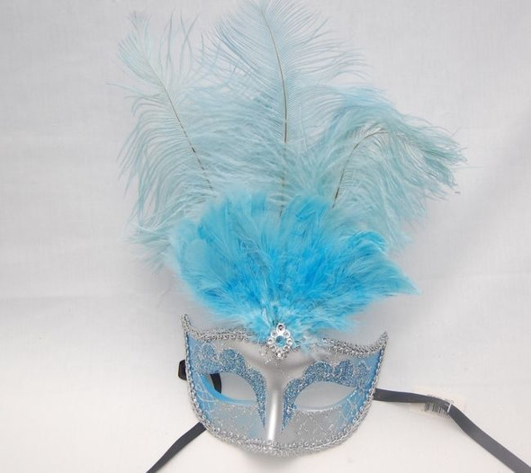 "15"" Blue Silver Feather Mask Halloween Costume Accessory Prop Gem Women's Ladies"