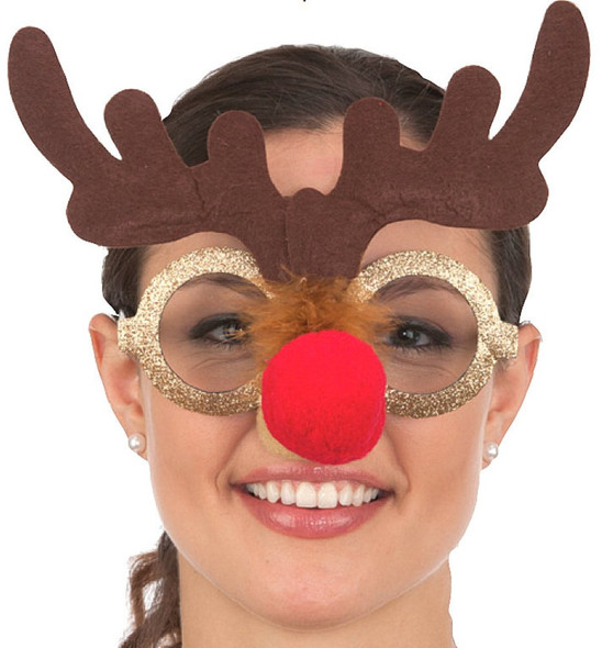 Gold Glitter Rudolph Reindeer Antler Glasses Christmas Xmas Costume Accessory