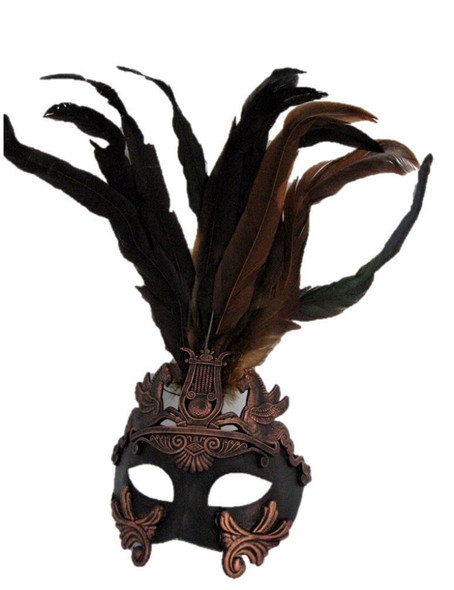 Venetian Antique Copper Brown Horse Mask Costume Accessory Roman Warrior Feather