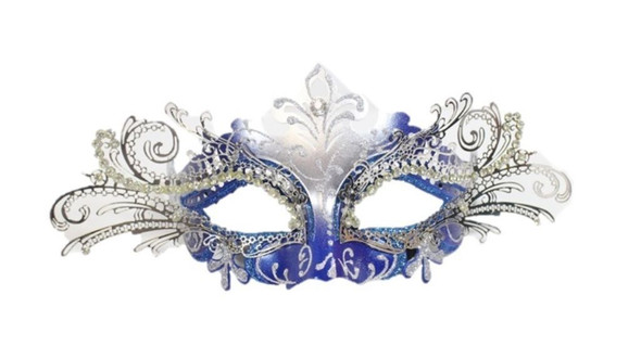 Blue Silver Laser Cut Half Mask Clear Crystal Glitter Costume Accessory Adult