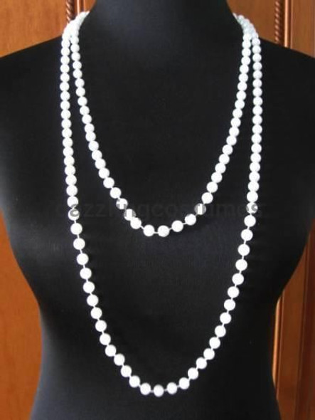 "Faux Pearl Beads 68"" Long White Necklace Flapper Dancer Costume Accessory 20's"