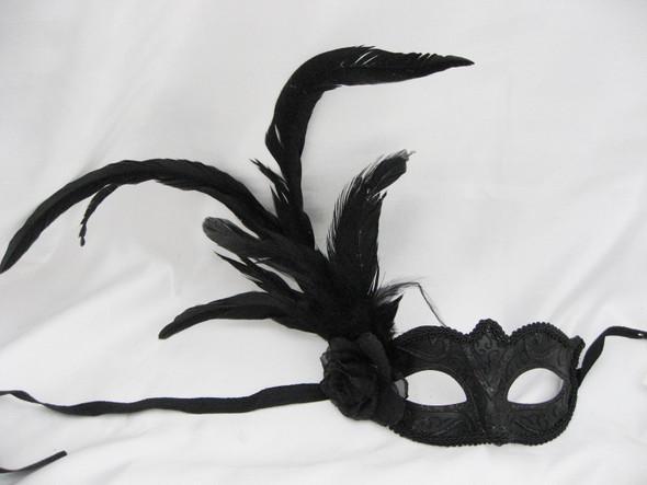 Midnight Black Rose Mask Venetian Mardi Gras Feather Glitter Costume Accessory