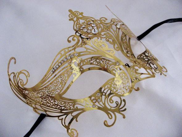 Gold Laser Cut Venetian Mask Masquerade Costume Clear Rhinestones Mardi Gras