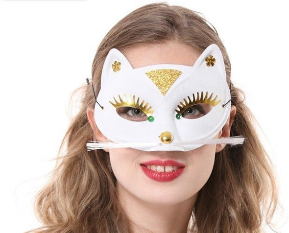 White Pussy Cat Persian Eye Mask Halloween Costume Accessory Gold Sequin Panther