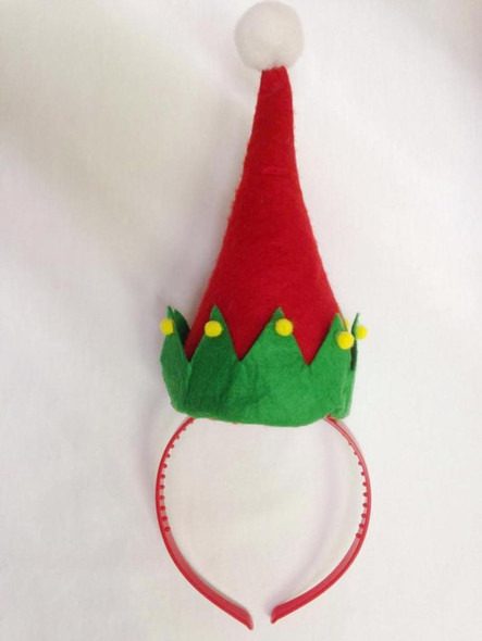Green Red Elf Hat with Pompoms on Headband Santa Helper Costume Accessory Pompom