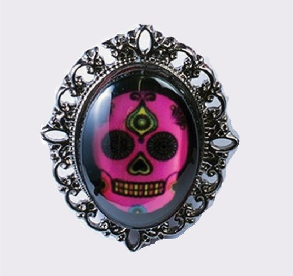 Day of the Dead Sugar Skull Costume Jewelry Set Chain Earring Ring Silver Pink