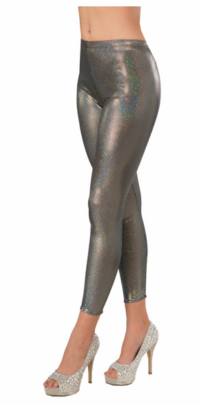 Womens Metallic Silver Futuristic Leggings Sexy Space Robot Costume Accessory