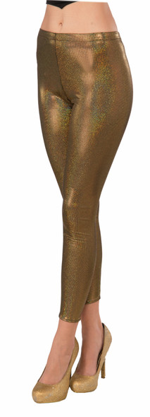 Womens Metallic Gold Futuristic Leggings Sexy Space Robot Costume Accessory