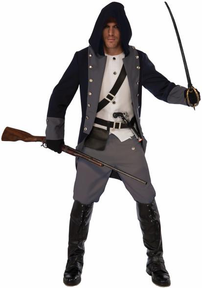 Silent Warrior Ninja Adult Men's Costume Pirate Assassin Soldier Grey Std