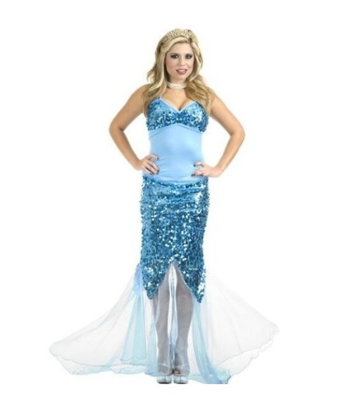Sexy Blue Lagoon Sequin Mermaid Costume Fancy Dress Fish Adult Women Medium 8-10