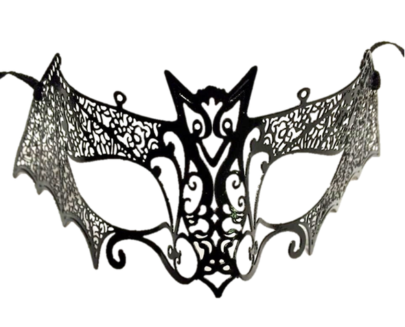 Sexy Black Bat Laser Cut Venetian Fancy Half Mask Masquerade Costume Metal