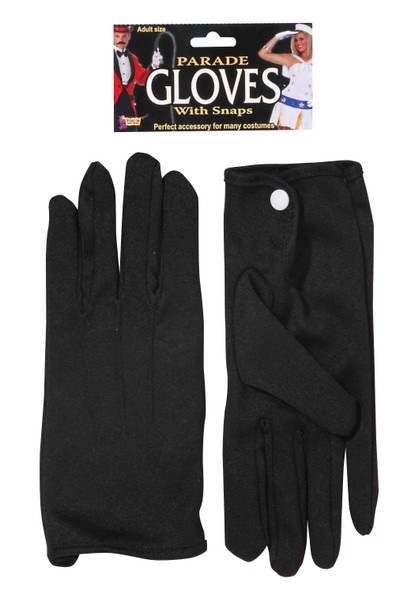Black Parade Gloves With Snaps Adult Marching Band Magician Costume Accessory