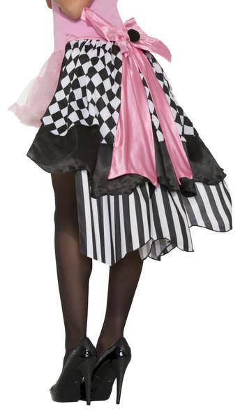 Women's Harlequin Clown Bustle Skirt Black White Argyle Adult Costume Accessory
