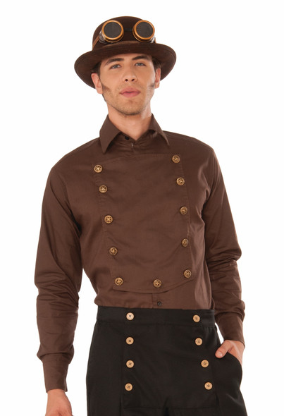 Men's Steampunk Brown Shirt Medieval Victorian Adult Costume Accessory Std