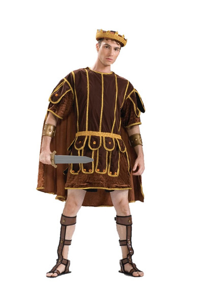 Roman Soldier Costume Senator Warrior Adult L-XL Men Plus Size Greek Brown