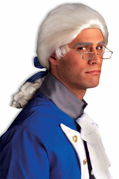 White Colonial Wig Unisex Barrister Franklin Men Historical Costume Accessory