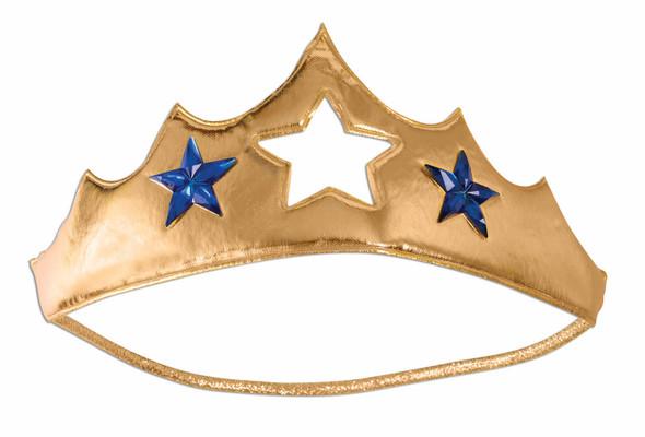 Gold Fabric Tiara Comicbook Super Hero Adult Womens Blue Stars Costume Accessory