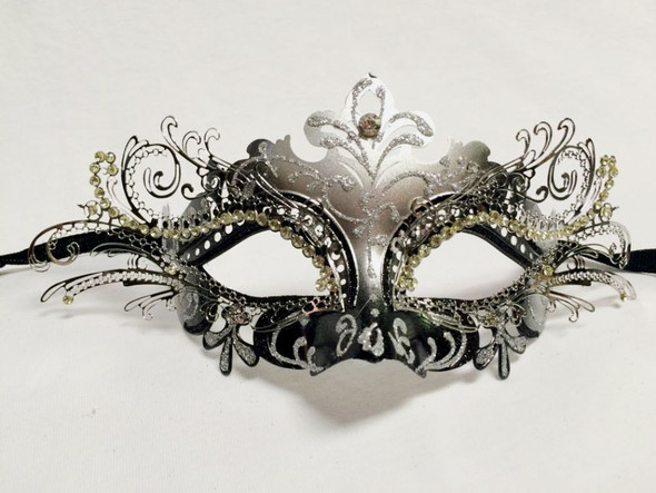 Black Silver Laser Cut Half Mask Clear Crystals Glitter Costume Accessory Adult
