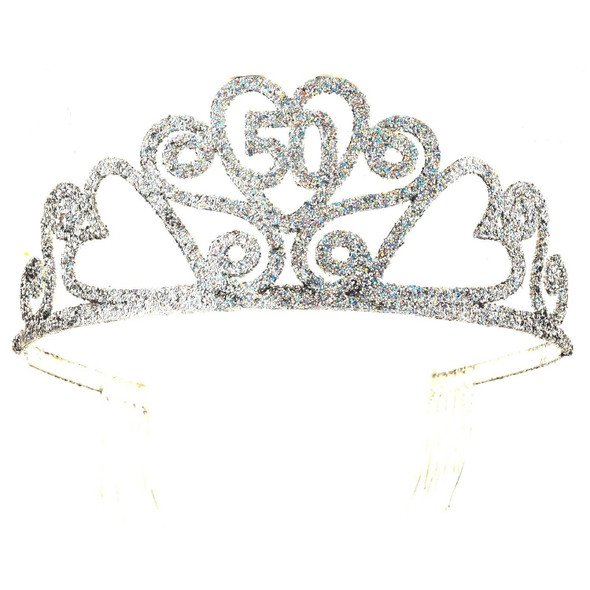 Happy 50th Birthday Silver Glitter Tiara Crown Gift Costume Accessory Novelty