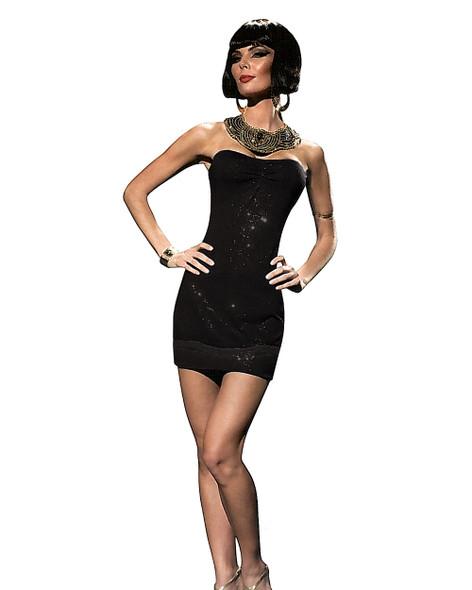 Women's Sexy Club Burlesque Black Sequins Mini Costume Party Dress + G-String LG