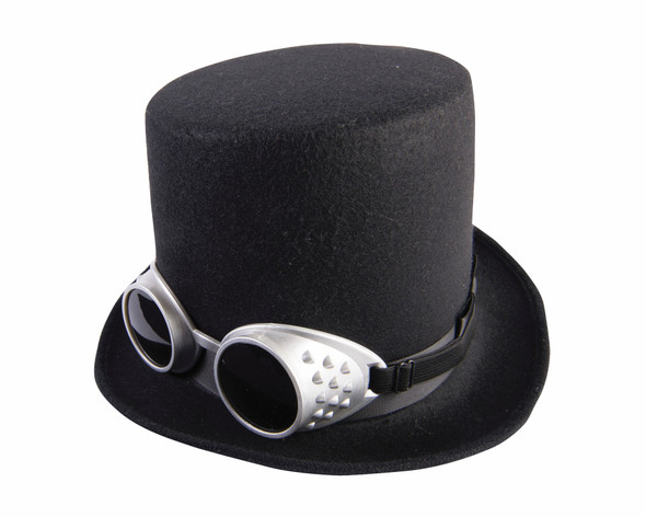 Steampunk Black Topper Top Hat and Goggles Halloween Adult Men Costume Accessory
