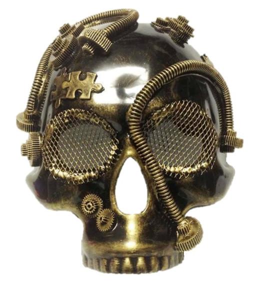 Steampunk Antique Gold Skull Style Half Mask Men's Masquerade Accessory New