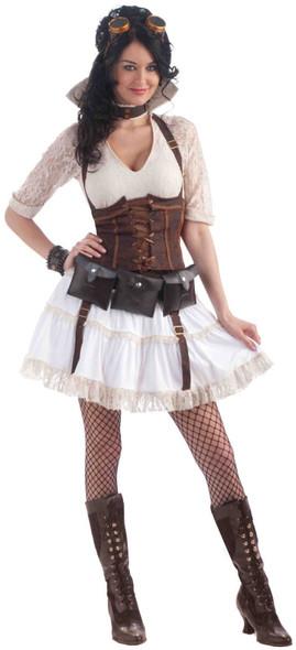 Steampunk Sally Women's Costume Adult Std Skirt Corset Garters Blouse Ivory New