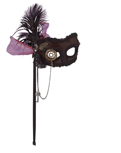 Steampunk Venetian Mask Costume Accessory Monocle Feather Wings Chain Key Gears