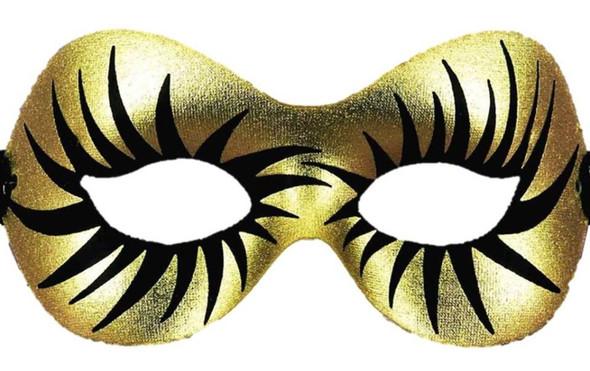 Stunning Gold Half Mask Eyelash Women's Halloween Mardi Gras Costume Accessory
