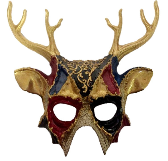 Black and Red Deer Gold Half Mask Adult Mens Animal Venetian Costume Accessory