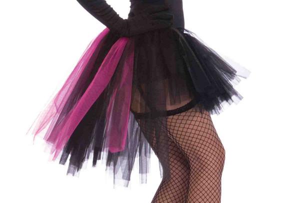 Burlesque Tutu Skirt Crinoline Adult Women Black Pink Hi-Low Costume Accessory