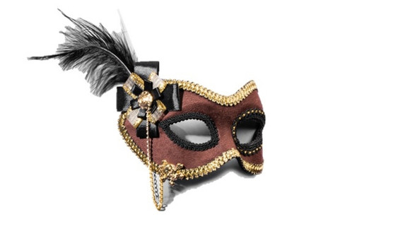 Brown Suede Masquerade Eyeglasses Mask Women's Pirate Wench Costume Accessory