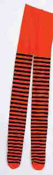 Child Orange and Black Striped Tights Witch Pantyhose Costume Accessory