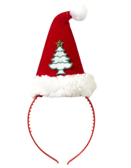 Christmas Tree Santa Elf Hat On A Headband Adult Children Red Costume Accessory