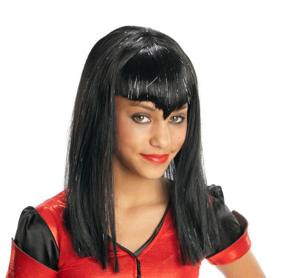Children's Black Glitter Vamp Wig Long Bangs Girls Costume Accessory Vampiress