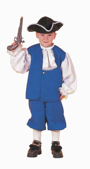 Colonial Boy Costume Ben Franklin Pioneer Child Small 4-6 Vest Knickers Hat Blue