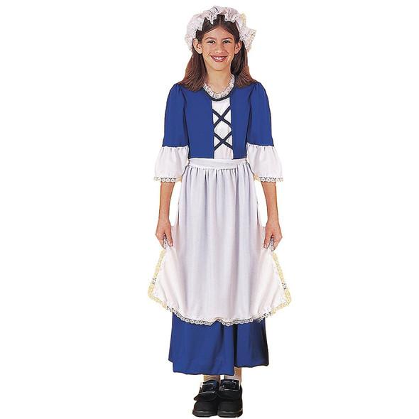 Colonial Girl Costume Dress Children Thanksgiving Pioneer Pilgrim Small 4-6