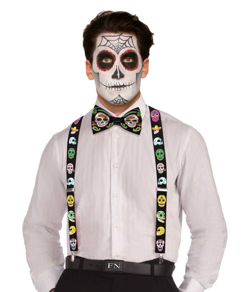 Day Of The Dead Adult Suspenders Sugar Skulls D?a de Muertos Costume Accessory