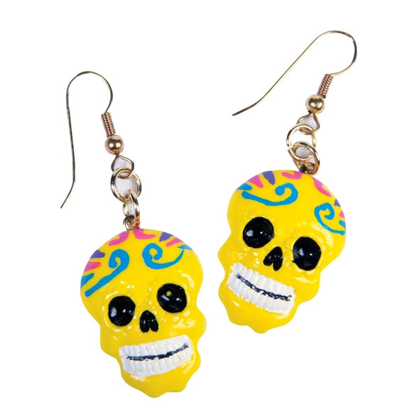 Day of the Dead Yellow Sugar Skull Earrings Dia de los Muertos Costume Accessory
