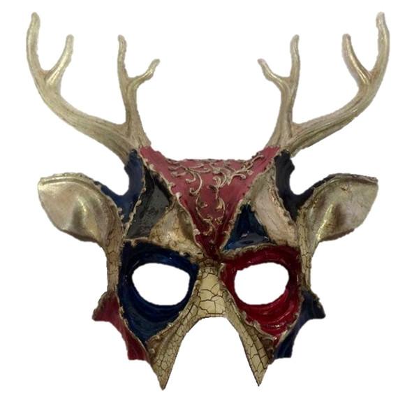 Deluxe Deer Silver Half Mask Adult Mens Animal Venetian Costume Accessory