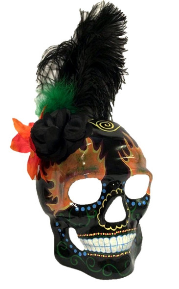 Day of The Dead DOD Sugar Skull Mask Skeleton Head Flames Costume Accessory