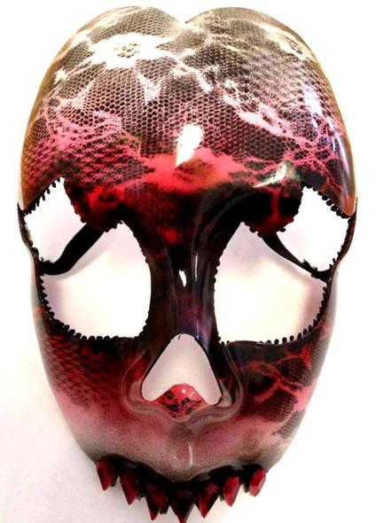 Elegant Evil Ruby Red Gems Fang Fancy Mask Halloween Costume Accessory Teeth