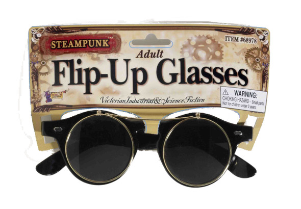 Flip-Up Steampunk Glasses Retro Round Goth Goggle Adult Unisex Costume Accessory